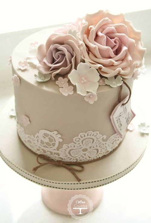 birthday cake with picture on top ; elegant-brown-birthday-cake-images-with-flower-toppers
