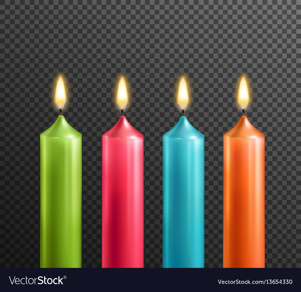 birthday candle transparent background ; candles-on-transparent-background-realistic-set-vector-13654330