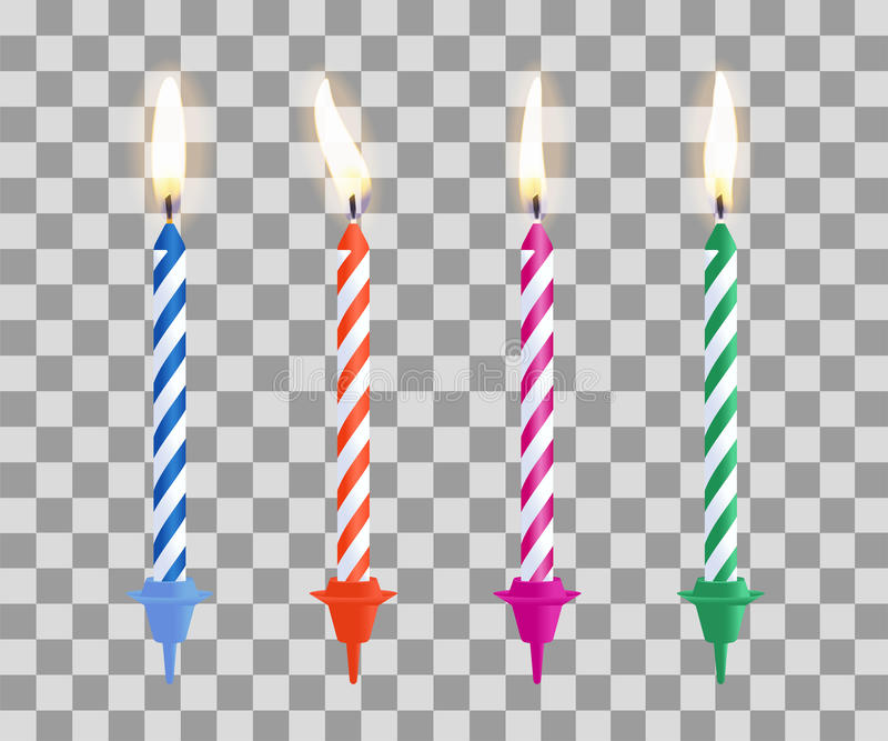 birthday candle transparent background ; realistic-burning-birthday-cake-candles-set-isolated-transparent-checkered-background-vector-illustration-92477492