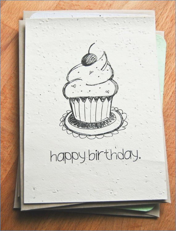 birthday card designs to draw ; plantable-seed-paper-happy-birthday-card-hand-illustrated-cupcake-of-birthday-card-designs-to-draw