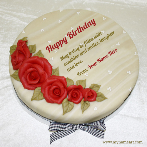 birthday card download with name ; name-birthday-rose-flower-wishes-cake