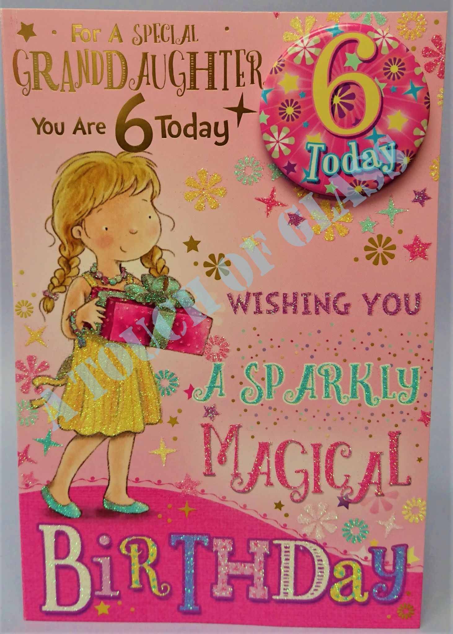 birthday card for 6 year old granddaughter ; badge-birthday-card-6-year-old-granddaughter-4267-1-p