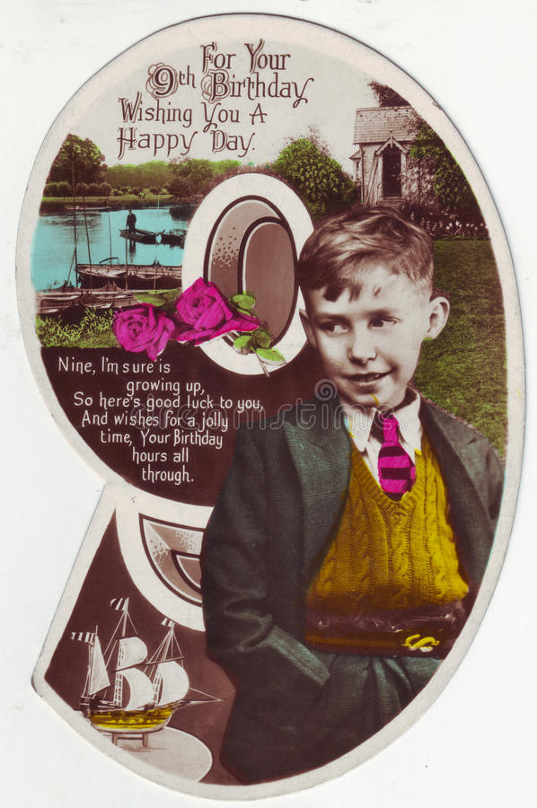 birthday card for 9 year old boy ; antique-postcard-greeting-card-years-old-boy-birthday-english-verse-to-year-shaped-as-number-47703275