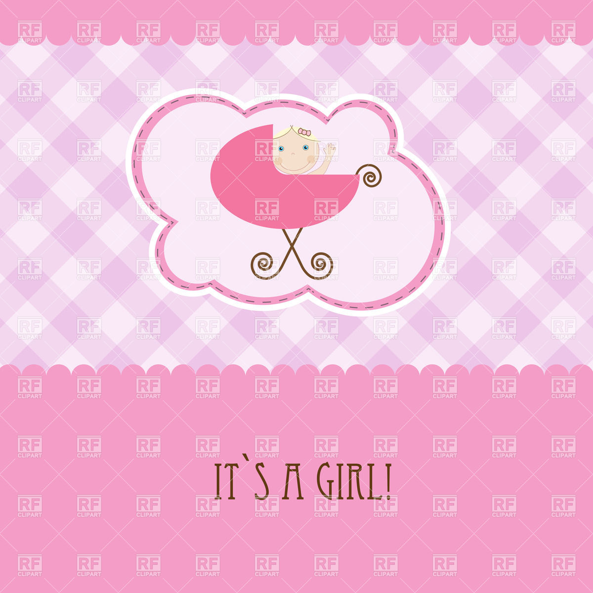 birthday card for baby girl ; pink-birthday-card-with-baby-girl-in-perambulator-Download-Royalty-free-Vector-File-EPS-47626