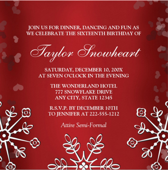 birthday card formal ; RED-SNOWFLAKE-SWEET-SIXTEEN-BIRTHDAY-INVITATION