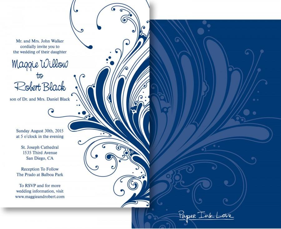 birthday card formal ; formal-wedding-invitations-or-save-the-dates-in-navy-blue-with-swirl-design-birthday-party-formal-event-wedding-invites-style-pil-007