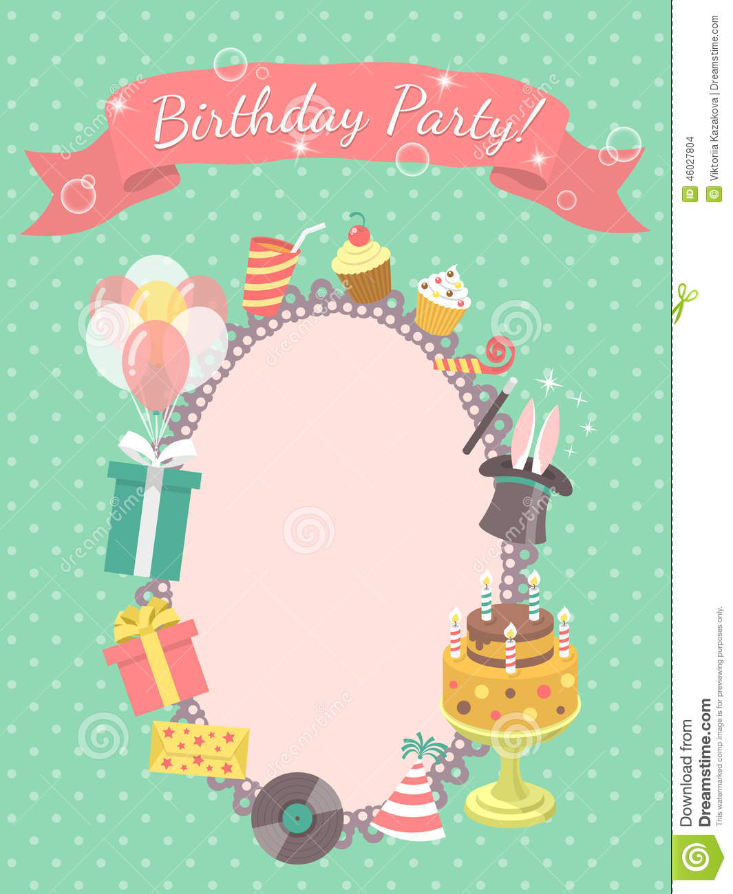 birthday card party ; birthday-party-invitation-card-modern-flat-symbols-such-as-gifts-balloons-cake-candles-46027804