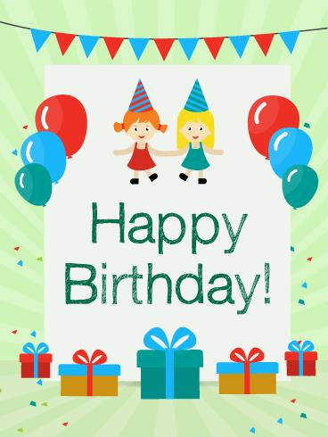 birthday card party ; kids-greeting-cards-birthday-party-with-friends-card-for-kids-birthday-greeting-free