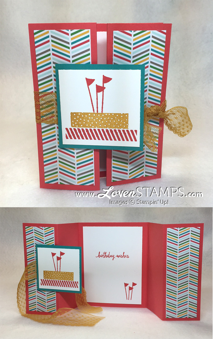 birthday card tutorial ; build-a-birthday-double-gate-fold-card-lovenstamps