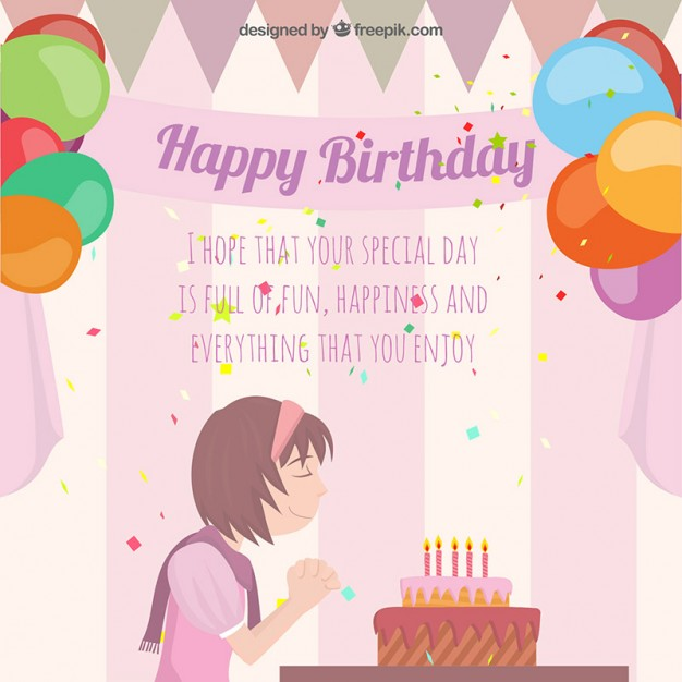 birthday card with image ; birthday-card-with-a-girl-making-a-wish_23-2147520904