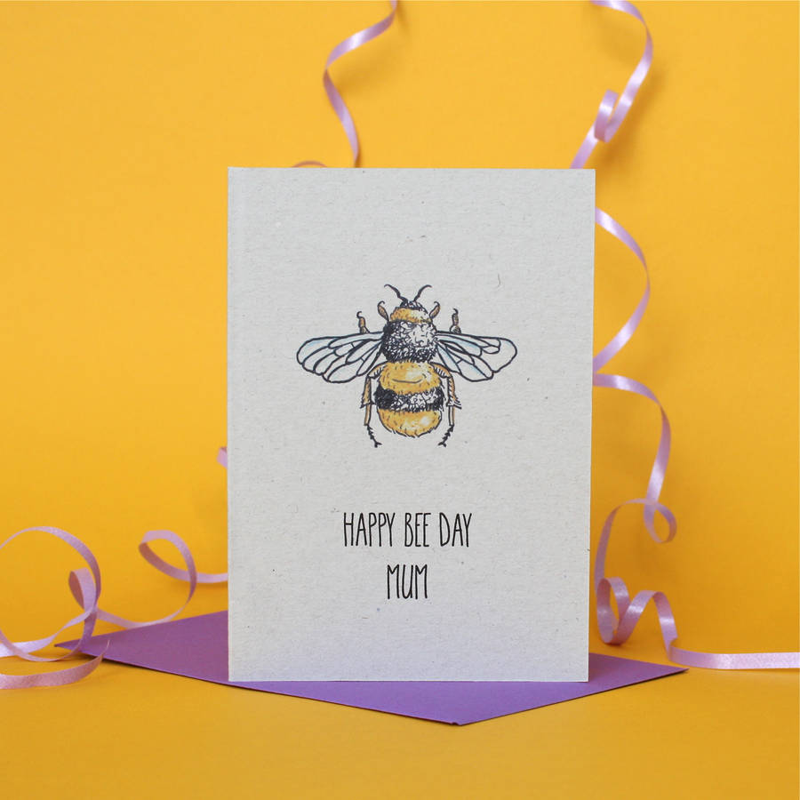 birthday card with image ; original_personalised-birthday-card-with-a-bee-theme