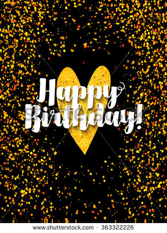 birthday card with image ; stock-vector-dark-happy-birthday-card-with-scattered-golden-glitter-363322226