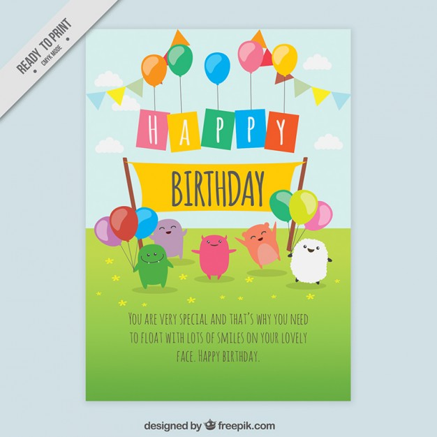 birthday card with pictures free ; nice-birthday-card-with-hand-drawn-characters_23-2147550959
