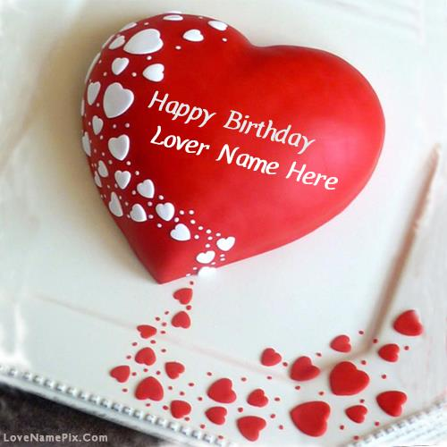 birthday cards for lover with name and photo ; red-heart-lovers-birthday-cake-love-name-pix-395b