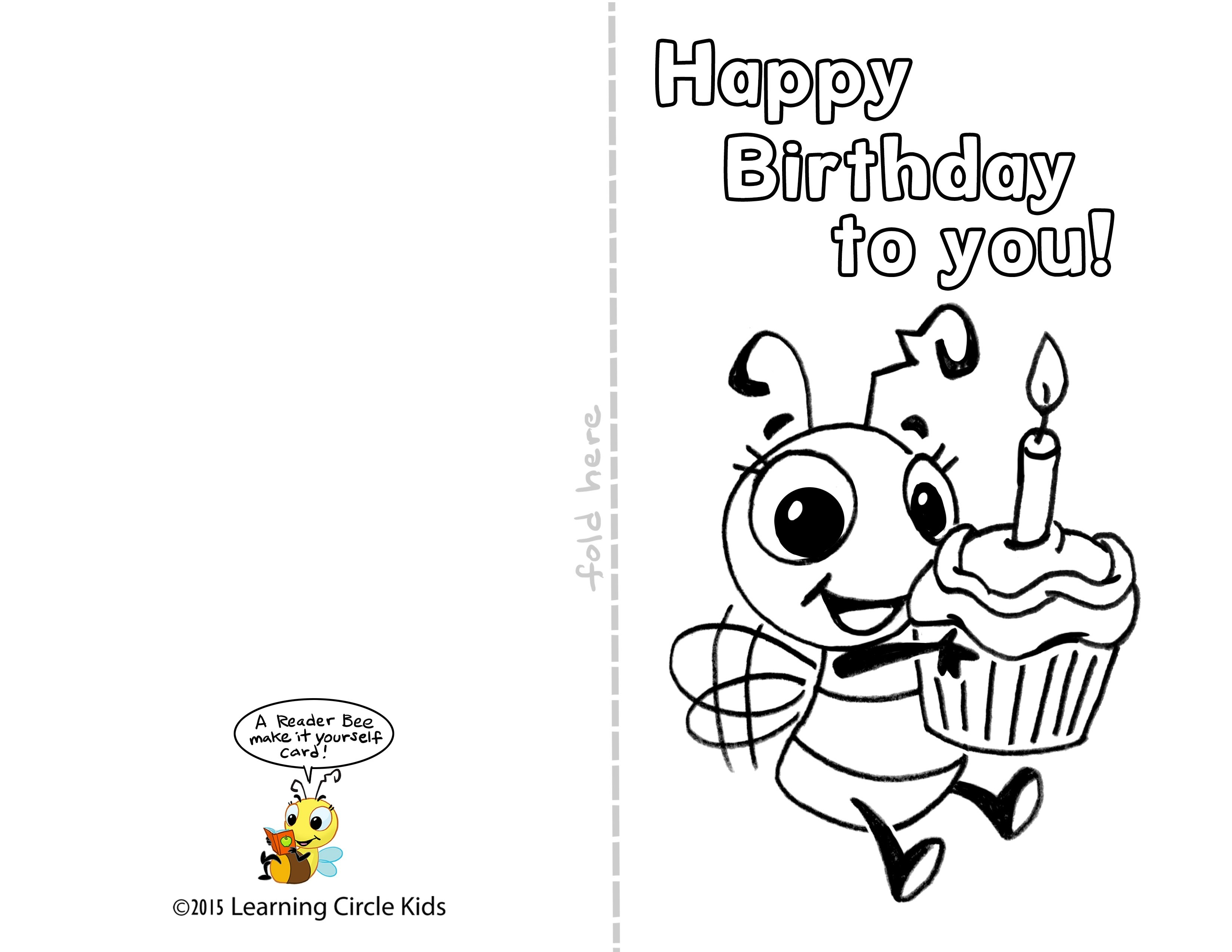 birthday cards with photos printable ; diy-free-printable-birthday-card-for-kids-to-decorate-and-write-inside-happy-birthday-card-printable-black-and-white