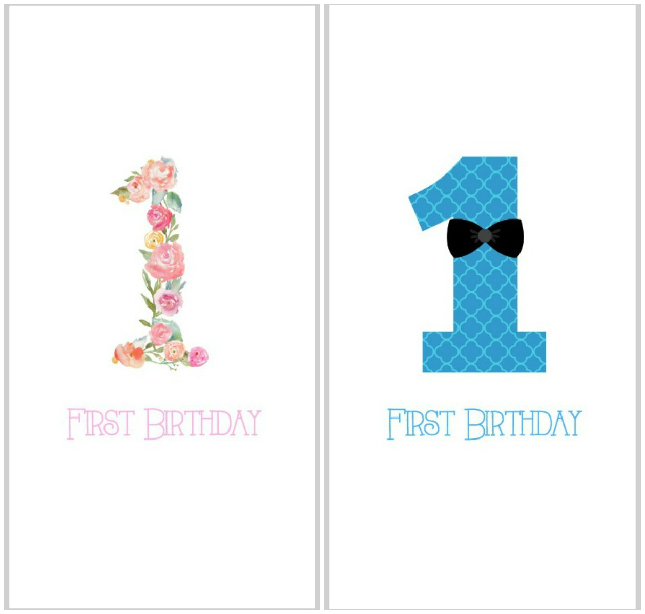 birthday cards with photos printable ; first-birthday-printable-collage