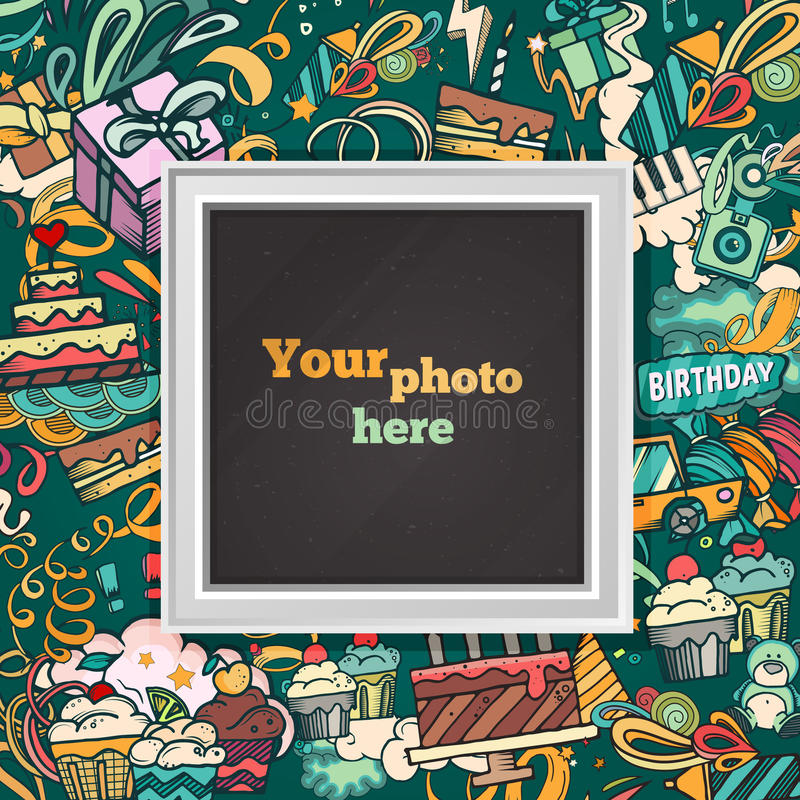 birthday collage background template ; birthday-photo-frame-background-collage-card-album-template-kid-baby-family-memories-scrapbook-concept-vector-illustration-77493153