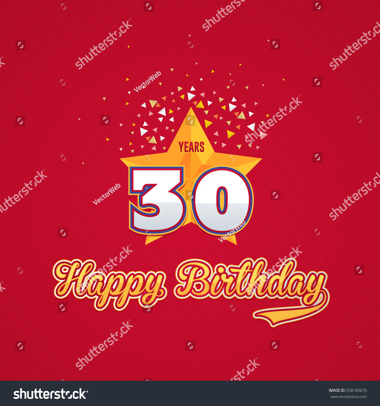 birthday colors for age 30 ; stock-vector-colorful-happy-birthday-celebration-design-age-concept-greeting-card-template-red-colors-558189676