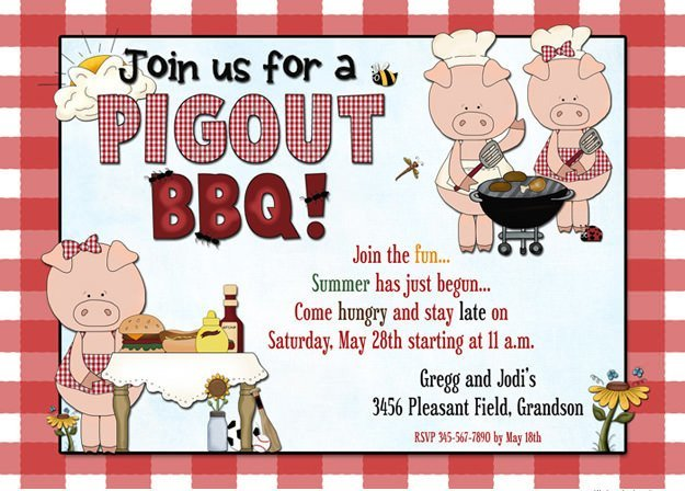 birthday cookout invitation templates ; pig-cookout-bbq-summer-party-invitation-grilling-games-cookout-invitations