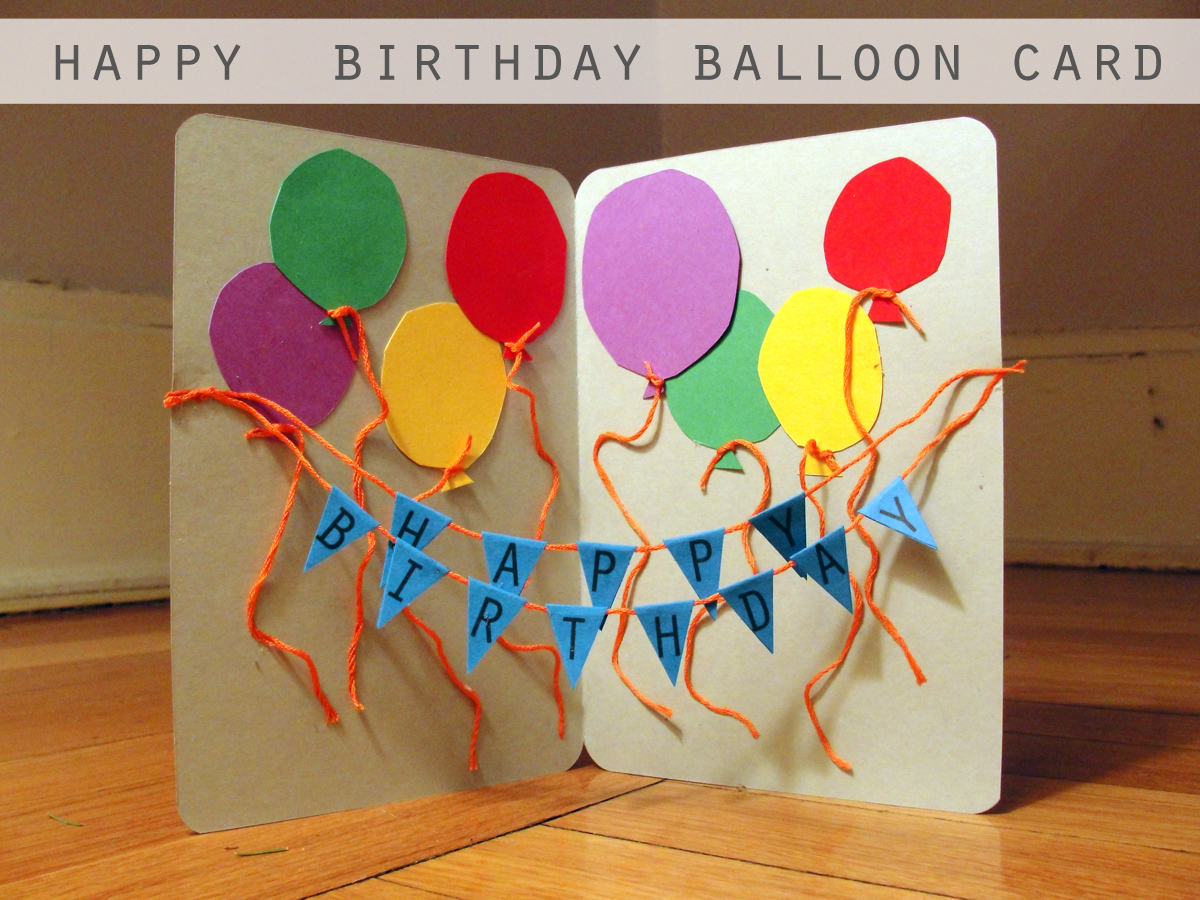 birthday crafts for kids to make ; happy-birthday-balloon-card-diy-craft