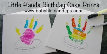 birthday crafts for kids to make ; little-hands-birthday-cake-prints