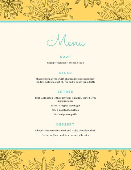 birthday dinner party menu template ; canva-yellow-flowers-dinner-party-menu-MACFOb3_aCk