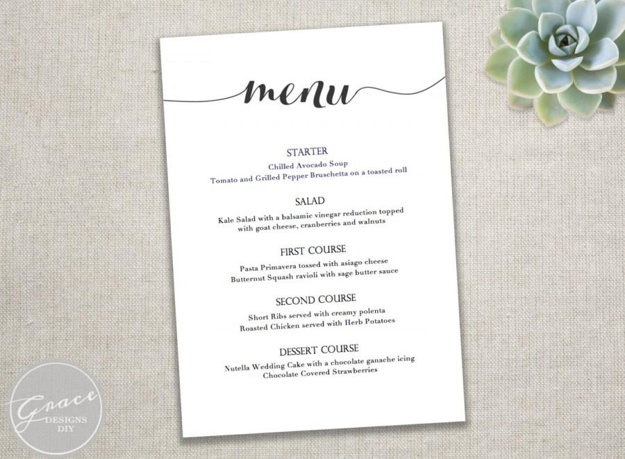 birthday dinner party menu template ; party-menu-template-printable-black-menu-template-calligraphy-style-script-instant-download-diy-in-microsoft-word-5-x-7-inches-wedding-dinner-party-wHkMWq