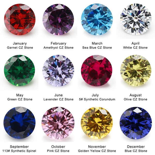birthday gemstone colors ; 50PCS-Per-Colors-Total-600pcs-12Color-Birthday-Stone-Round-Loose-Cubic-Zirconia-Stone-Synthetic-Corundum-Synthetic