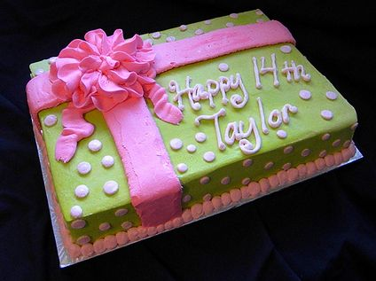 birthday gift cake image ; Green+gift+box+birthday+cake+with+pink+ribbon