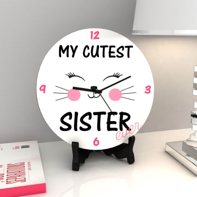 birthday gift picture for sister ; p-cutest-sister-ever-round-clock-40661-m