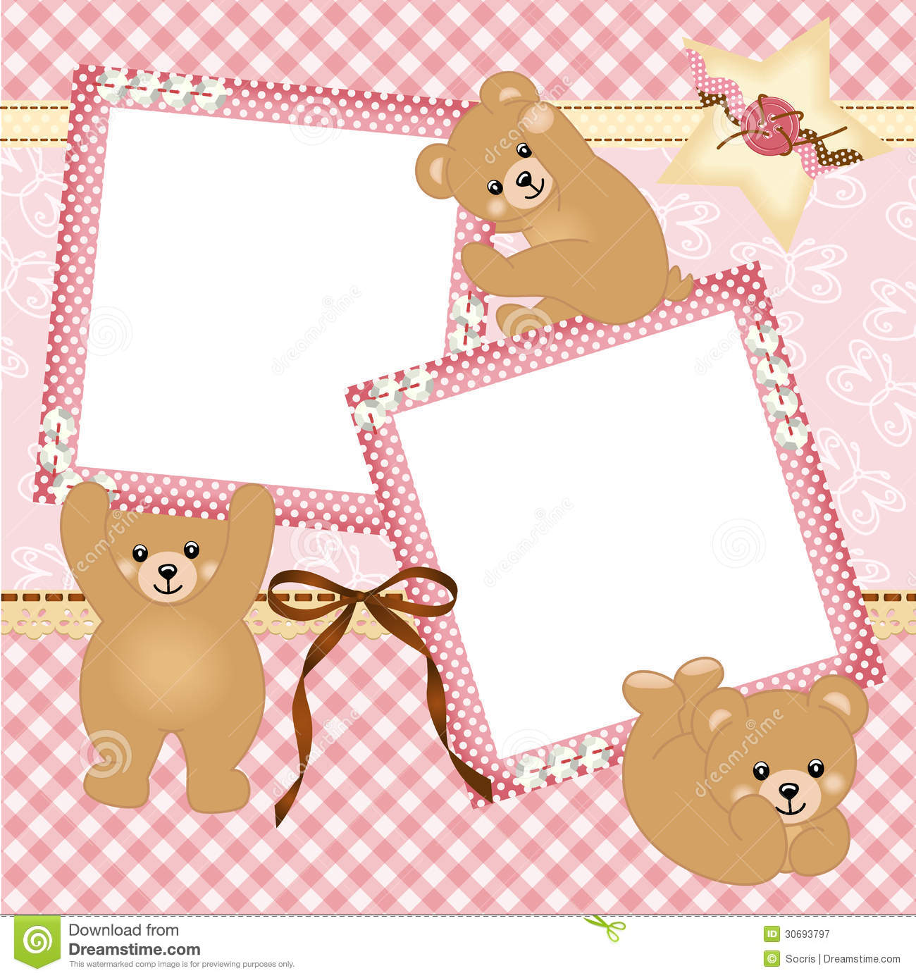 birthday girl picture frame ; baby-girl-photo-frame-teddy-bear-scalable-vectorial-image-representing-isolated-white-30693797