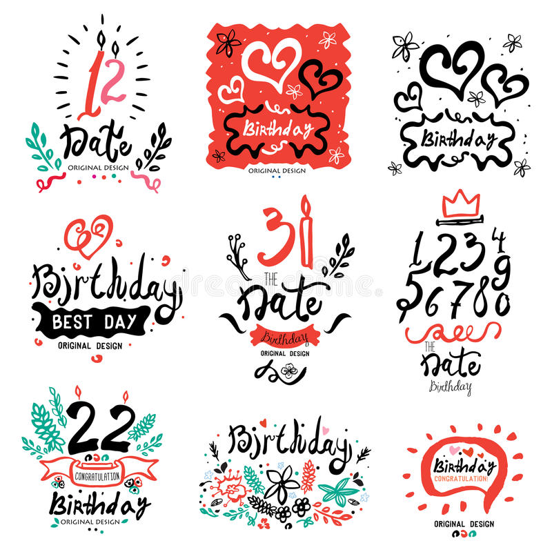 birthday logo design ; birthday-logo-design-elements-illustration-data-logo-illustration-set-handmade-to-invitations-to-save-date-70742976