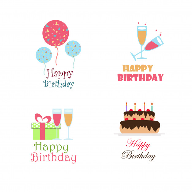 birthday logo design ; birthday-vector-logo-design-collection_1340-2140