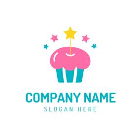 birthday logo design ; colorful-star-and-birthday-cake