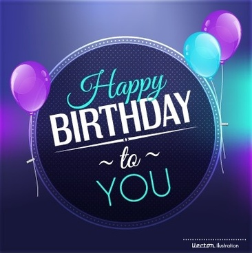 birthday logo design ; creative_happy_birthday_background_with_balloon_vector_542820
