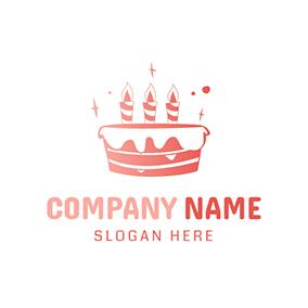 birthday logo design ; pink-and-white-birthday-cake