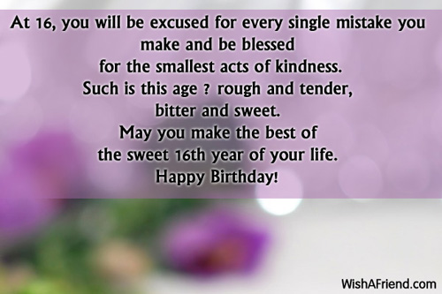 birthday message for 16 year old daughter ; 1919-16th-birthday-wishes