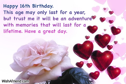 birthday message for 16 year old daughter ; 582-16th-birthday-wishes