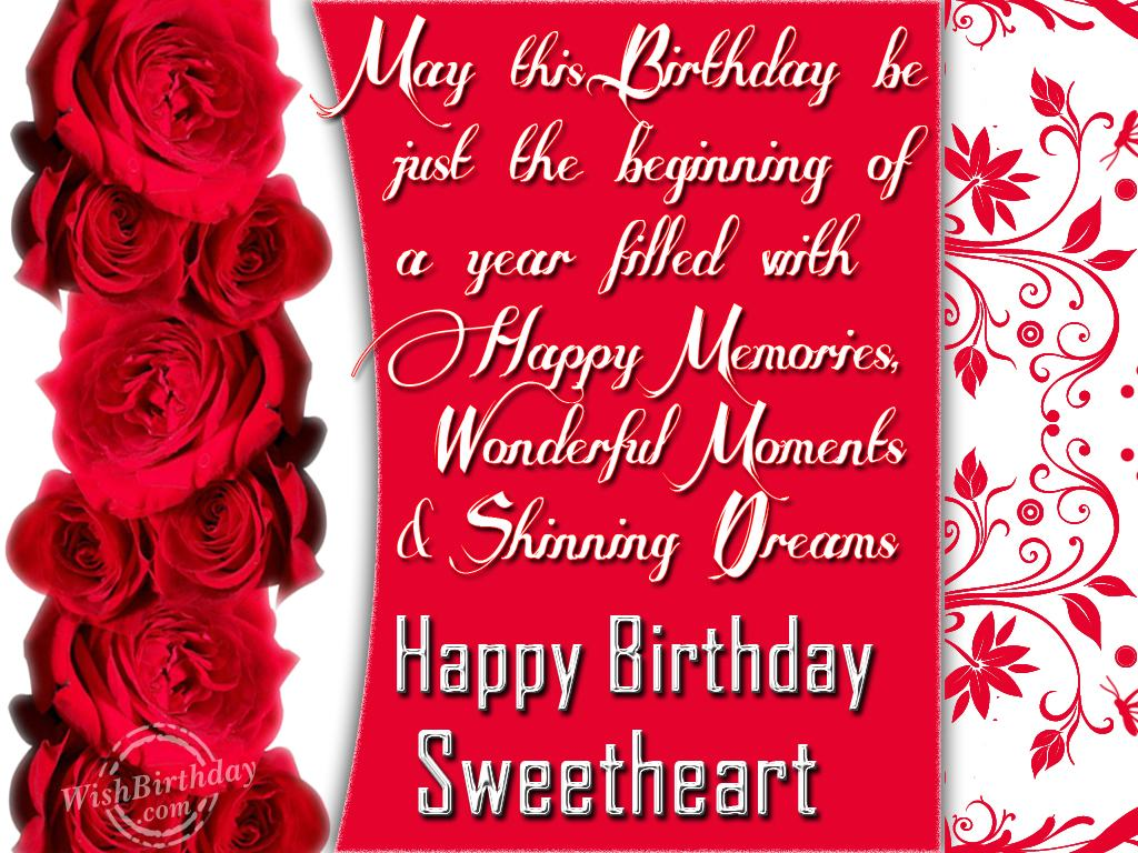 birthday message for a sweetheart ; 722