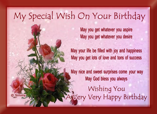 birthday message for special one ; 318473