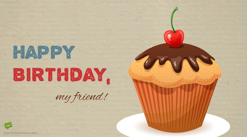birthday message greetings to a friend ; Happy-Birthday-wish-for-a-friend-on-image-of-huge-delicious-cup-cake-FB-1