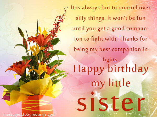 birthday message to a little sister ; sister-birthday5r