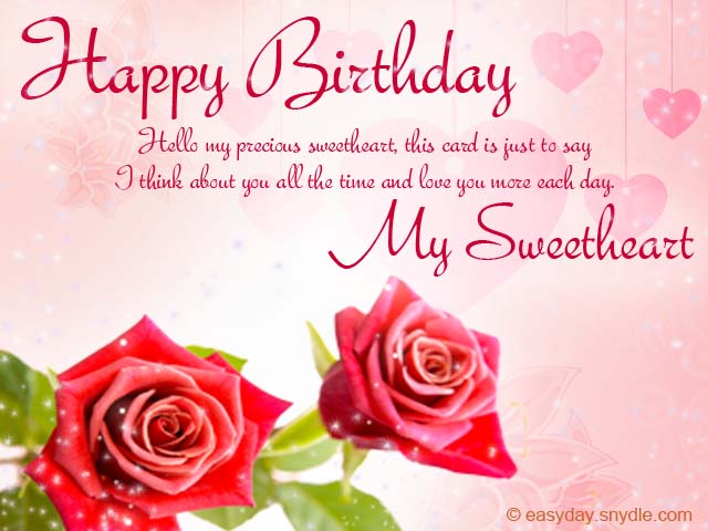 birthday message to a sweetheart ; romantic-birthday-wishes