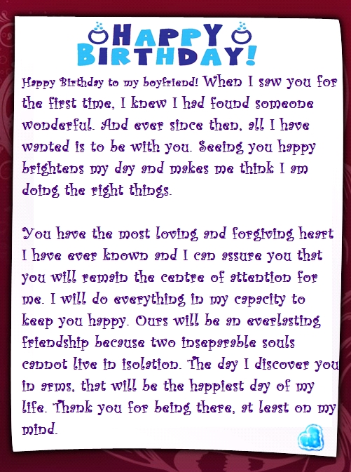 birthday message to my fiance ; boyfriend-birthday-letter