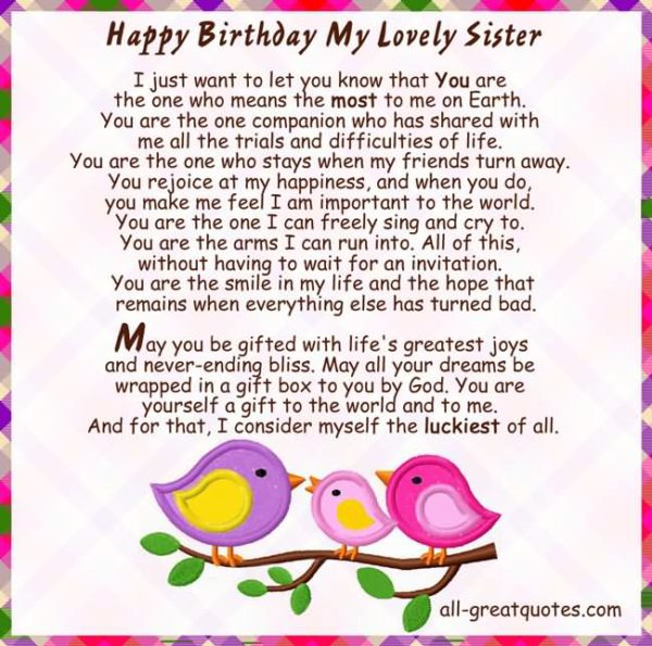 birthday message to my lovely sister ; Happy-Birthday-My-Lovely-Sister-I-Just-Want-To-Let-You-Know-That-You-Are-The-One-600x595