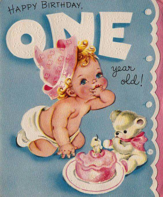 birthday one year old greeting card ; 5b4d83e27199c0c657d5e6c700f7c4d8