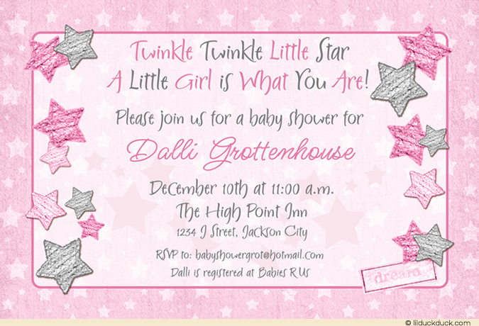 birthday one year old greeting card ; Twinkle-Twinkle-Little-Star-Baby-Shower-Soft-stars-Pink-Grey-girl