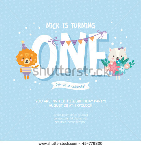 birthday one year old greeting card ; stock-vector-greeting-card-design-with-cute-lion-and-cat-happy-birthday-invitation-template-for-one-year-old-454779820