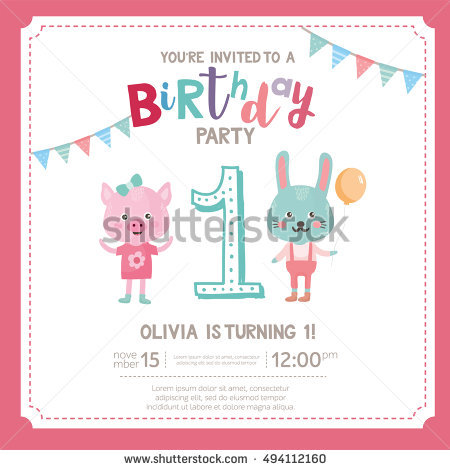 birthday one year old greeting card ; stock-vector-greeting-card-design-with-cute-pig-and-rabbit-happy-birthday-invitation-template-for-one-year-old-494112160