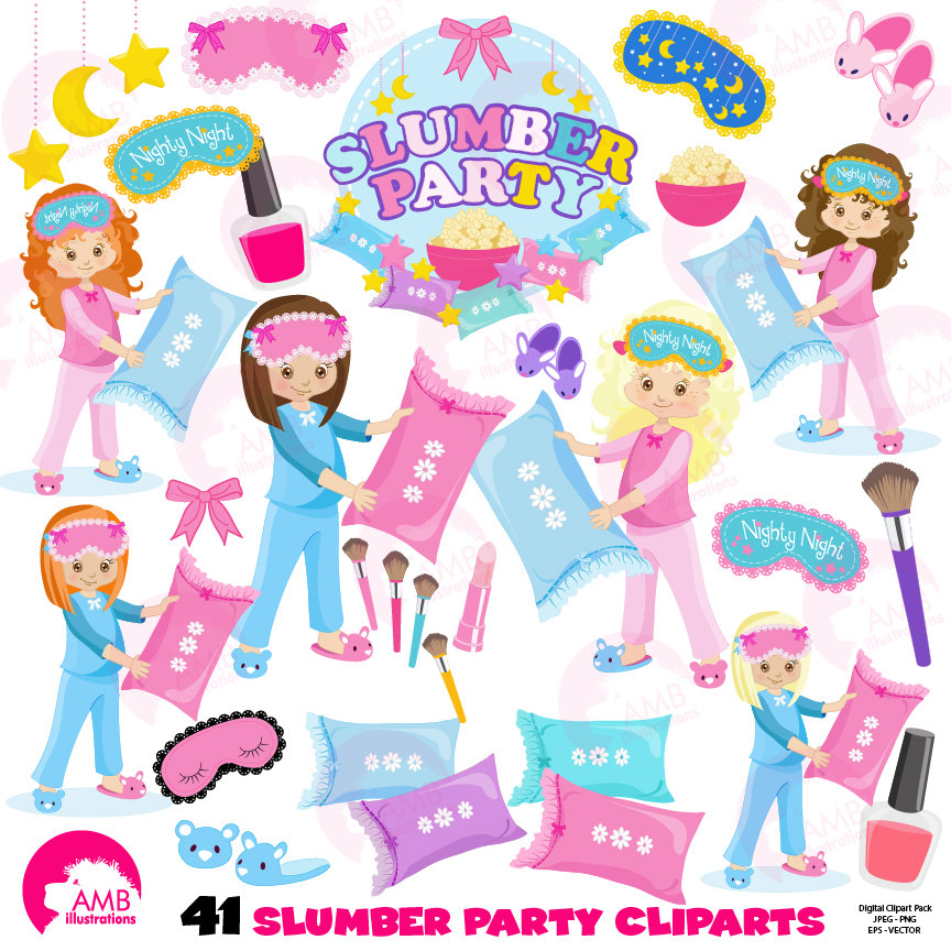 birthday party clip art pictures ; slumber-party-girls-sleep-over-pyjama-party-clipart-birthday-party-clipart-commercial-use-digital-clip-art-amb-1234-58c887c01